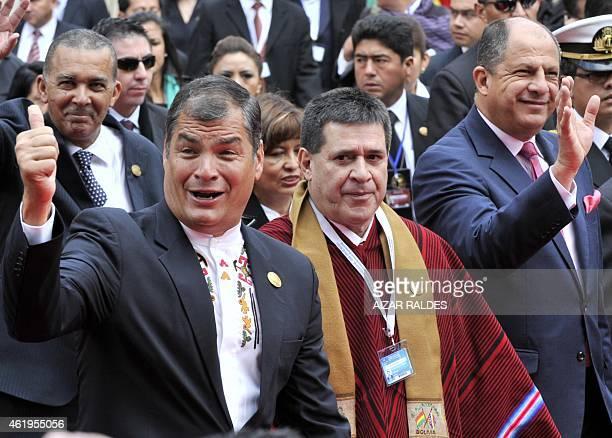 Ecuador's President Rafael Correa Paraguay's President Horacio Cartes and Costa Rican President Guillermo Solis arrive at the National Congress in La...