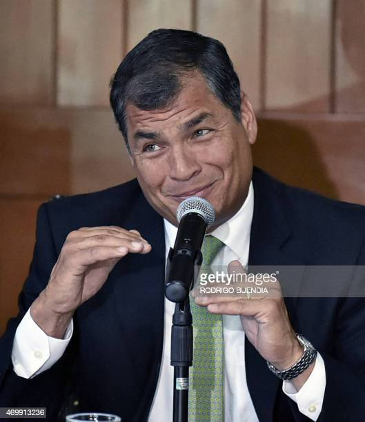 Ecuador's President Rafael Correa speaks during a press conference with Cardinal Raul Vela at the headquarters of the Ecuadorean Episcopal Conference...