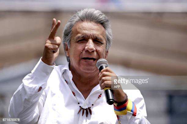 Ecuador's presidentelect Lenin Moreno participates in a rally to celebrate his win in Quito on April 22 2107 Ecuador's election authorities have...