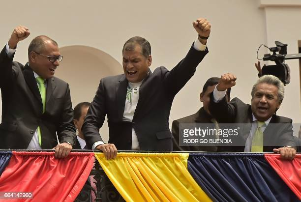 Ecuador's Presidentelect Lenin Moreno Vicepresidentelect Jorge Glas and current President Rafael Correa wave to supporters from the balcony of the...