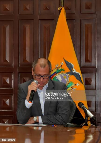 Ecuador's Vice President Jorge Glas gestures after reading the presidential decree that removes him from all his functions in Quito on August 3 2017...
