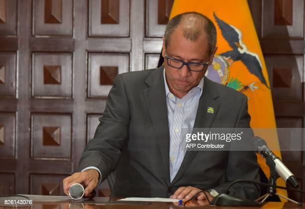 Ecuador's Vice President Jorge Glas gestures while reading the presidential decree that removes him from all his functions in Quito on August 3 2017...