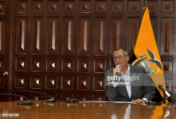 Ecuador's Vice President Jorge Glas speaks after reading the presidential decree that removes him from all his functions in Quito on August 3 2017...