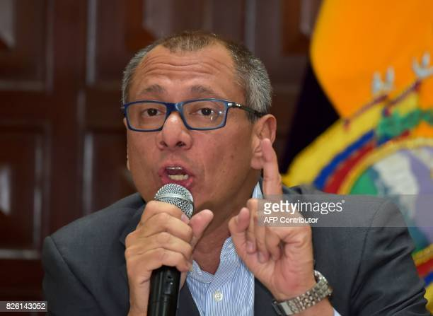 Ecuador's Vice President Jorge Glas speaks after showing the presidential decree that removes him from all his functions in Quito on August 3 2017...