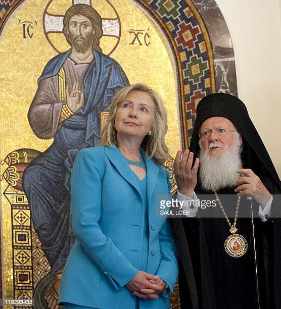 Ecumenical Patriarch Bartholomew and US Secretary of State Hillary Clinton tour the Patriarchy in Istanbul on July 16 following meetings The United...