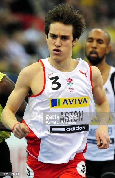Ed Aston during the Men's 800m during the AVIVA Grand Prix at the National Indoor Arena Birmingham
