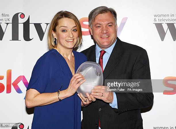 Ed Balls presented Laura Kuenssberg with the BBC News and factual award at the Women in Film amp TV Awards at the Hilton hotel in central London