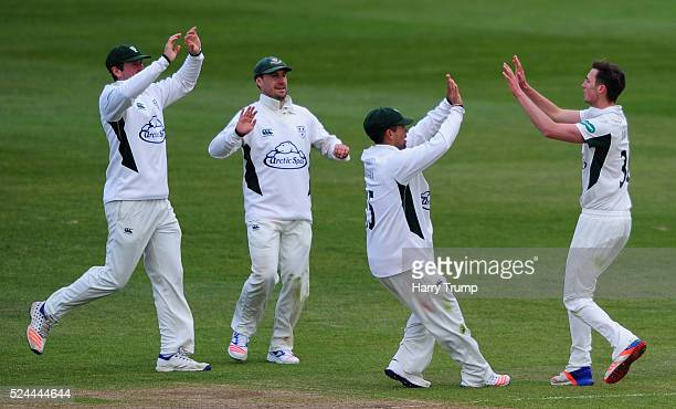 Ed Barnard of Worcestershire celebrates after dismissing Cameron Bancroft of Gloucestershire during Day Three of the Specsavers County Championship...