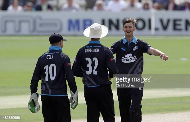 Ed Barnard of Worcestershire celebrates after he takes the wicket of Andy Hodd of Yorkshire during the Royal London OneDay Cup match between...