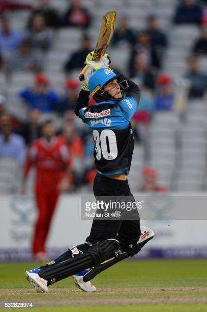MANCHESTER ENGLAND AUGUST Ed Barnard of Worcestershire Rapids batting during the NatWest T20 Blast match between Lancashire Lightning and...