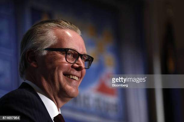 Ed Bastian chief executive officer of Delta Air Lines Inc smiles during a Detroit Economic Club meeting in Detroit Michigan US on Wednesday Nov 15...