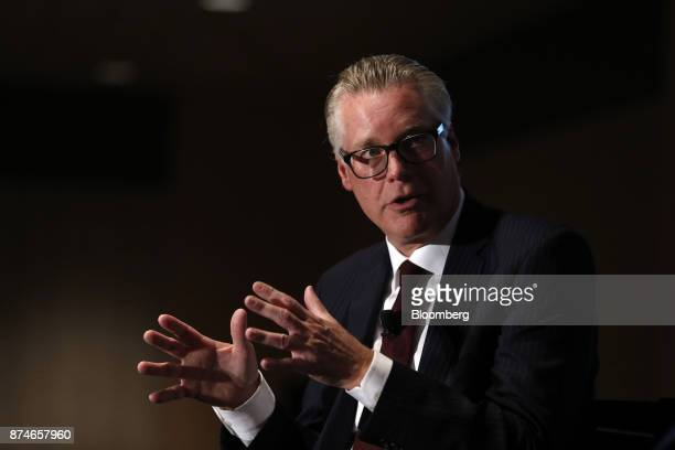 Ed Bastian chief executive officer of Delta Air Lines Inc speaks during a Detroit Economic Club meeting in Detroit Michigan US on Wednesday Nov 15...