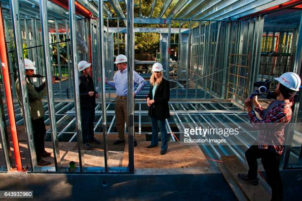 Ed Begley Jr Rachelle CarsonBegley and general contractor Scott Harris On 3/14/2013 the steel framing continues to be assembled over the foundation...