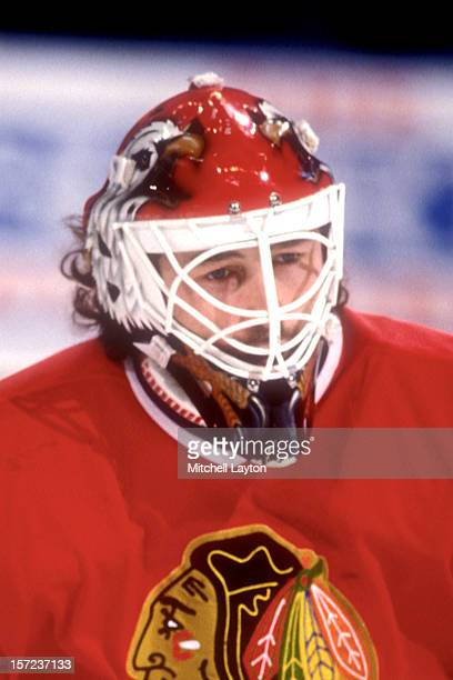 Ed Belfour of the Chicago Black Hawks looks on during a hockey game against the Washington Capitals on March 8 1994 at USAir Arena in Landover...