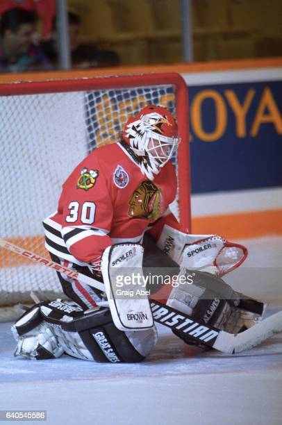 Ed Belfour of the Chicago Black Hawks skates in warmup prior to a game against the Toronto Maple Leafs on October 17 1992 at Maple Leaf Gardens in...