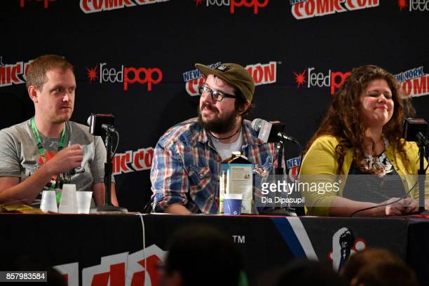 Ed Brisson Matthew Rosenberg and Rainbow Rowel speak during 'Marvel Legacy Next Big Thing' at 2017 New York Comic Con Day 1 on October 5 2017 in New...