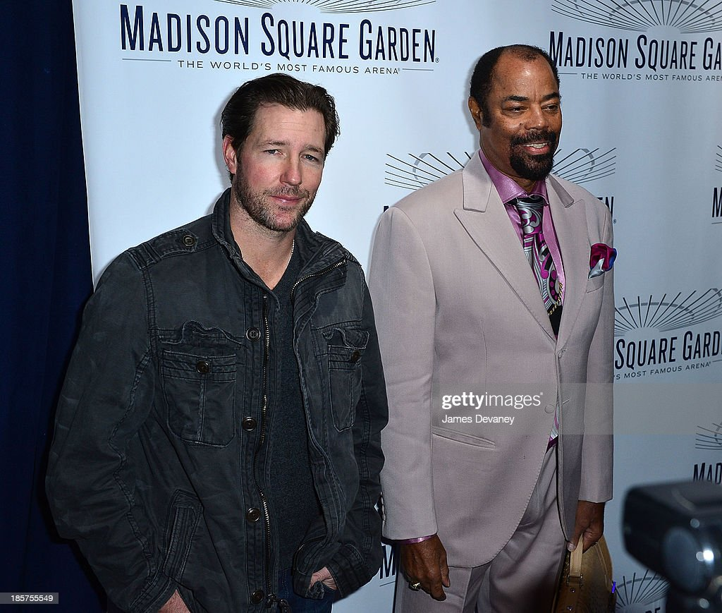 Ed Burns and Walt 'Clyde' Frazier attend Madison Square Garden transformation unveiling at Madison Square Garden on October 24 2013 in New York City