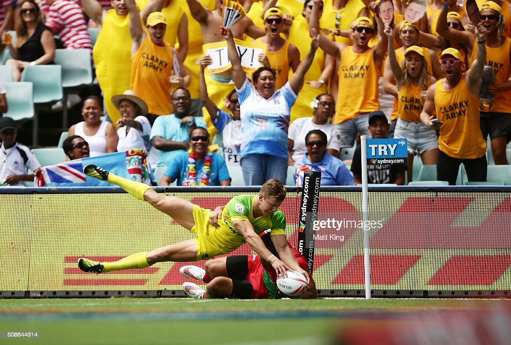 Ed Cameron Clark of Australia scores a try in the corner during the 20146 Sydney Sevens match between Australia and Portugal at Allianz Stadium on February 6, 2016 in Sydney, Australia.