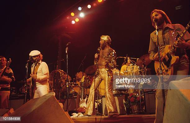 Ed Carter Al Jardine Mike Love and Carl Wilson of the Beach Boys perform on stage at Madison Square Garden in New York City in June 1975