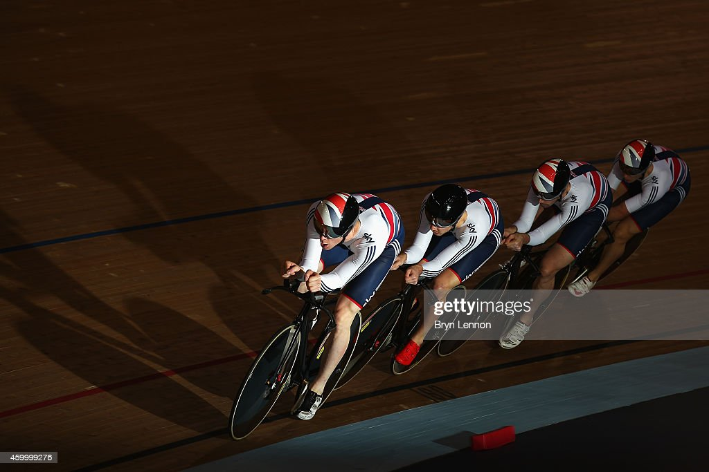 Ed Clancy leads the Great Britain Men's Pursuit Team during the Team Pursuit Semi Finals on day one of the UCI Track Cycling World Cup at the Lee Valley Velopark Velodrome on December 5, 2014 in London, England.