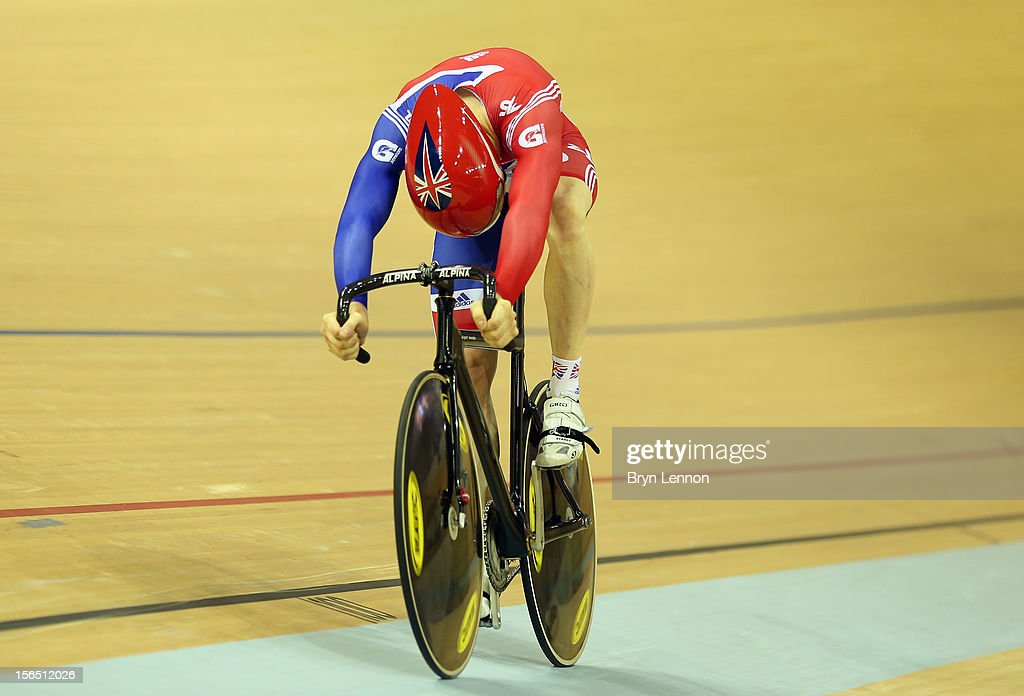 Ed Clancy of Great Britain rides to the finishline during qualifying for the Men's Team Sprint during day one of the UCI Track Cycling World Cup at the Sir Chris Hoy Velodrome on November 16, 2012 in Glasgow, Scotland.