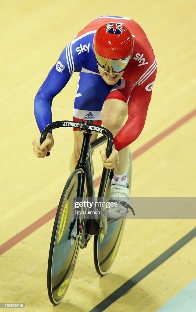 Ed Clancy of Great Britain rides to the finishline during the final of the Men's Team Sprint during day one of the UCI Track Cycling World Cup at the Sir Chris Hoy Velodrome on November 16, 2012 in Glasgow, Scotland.