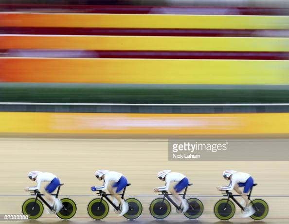 Ed Clancy Paul Manning Geraint Thomas and Bradley Wiggins of Great Britain compete in the men's team pursuit track cycling event held at the Laoshan...
