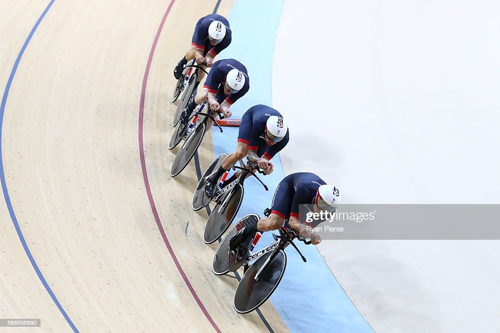 Ed Clancy Steven Burke Owain Doull and Sir Bradley Wiggins of Great Britain compete in the Men's Team Pursuit qualifying on Day 6 of the 2016 Rio...