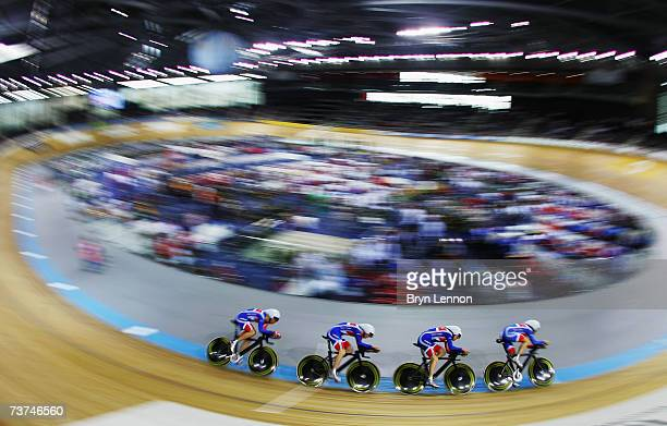 Ed ClancyGeraint Thomas Paul Manning and Bradley Wiggins of Great Britain are seen in action during qualifying for the Team Pursuit race at the UCI...
