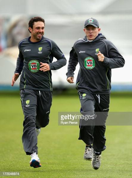 Ed Cowan and Chris Rogers of Australia train during an Australian Training Session at New Road on July 1 2013 in Worcester England