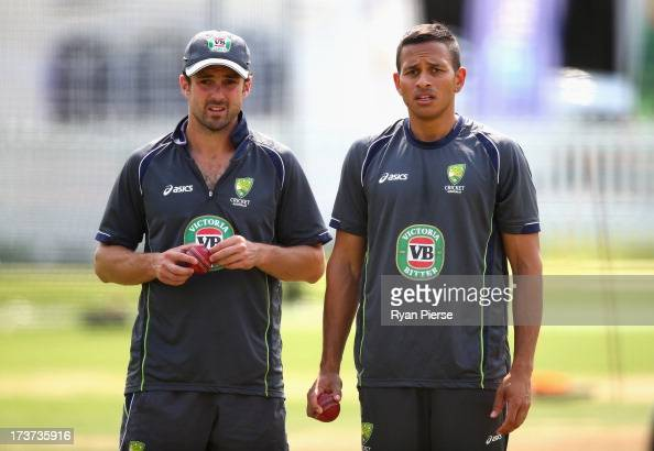 Ed Cowan and Usman Khawaja of Australia look on during an Australian Nets Session at Lord's Cricket Ground on July 17 2013 in London England