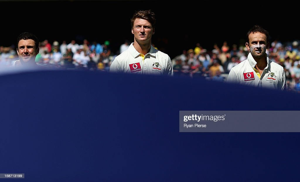 Ed Cowan, Jackson Bird and Nathan Lyon of Australia look on before day one of the Second Test match between Australia and Sri Lanka at the Melbourne Cricket Ground on December 26, 2012 in Melbourne, Australia.