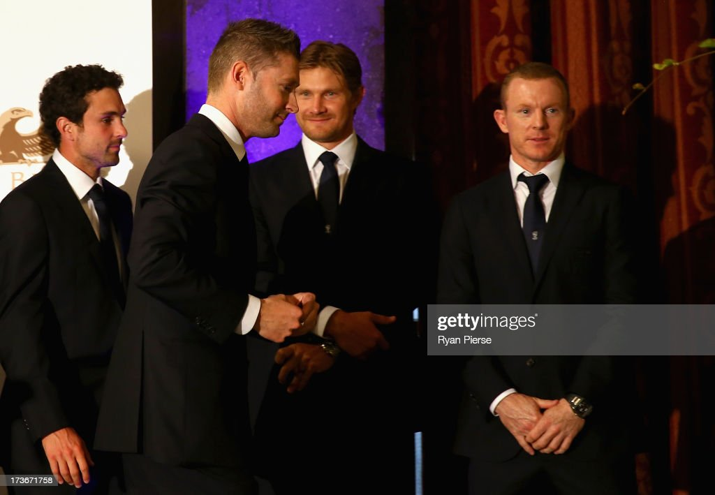 Ed Cowan, Michael Clarke, <a gi-track='captionPersonalityLinkClicked' href=/galleries/search?phrase=Shane+Watson+-+Cricket+Player&family=editorial&specificpeople=171874 ng-click='$event.stopPropagation()'>Shane Watson</a> and Chris Rogers of Australia look on during the Australian Cricket Team visit to the Australian High Commision on July 16, 2013 in London, England.