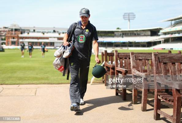 Ed Cowan of Australia arrives at an Australian Nets Session at Lord's Cricket Ground on July 16 2013 in London England
