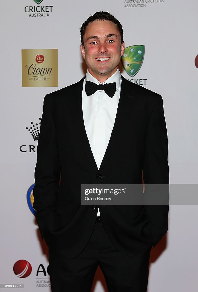 Ed Cowan of Australia arrives at the 2013 Allan Border Medal awards ceremony at Crown Palladium on February 4, 2013 in Melbourne, Australia.