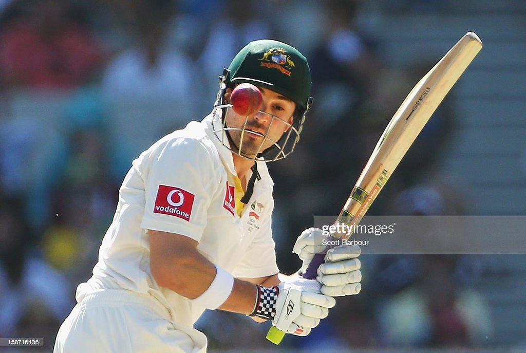 <a gi-track='captionPersonalityLinkClicked' href=/galleries/search?phrase=Ed+Cowan&family=editorial&specificpeople=2207390 ng-click='$event.stopPropagation()'>Ed Cowan</a> of Australia bats during day one of the Second Test match between Australia and Sri Lanka at Melbourne Cricket Ground on December 26, 2012 in Melbourne, Australia.