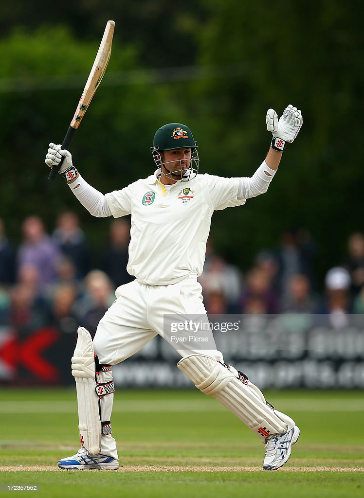 <a gi-track='captionPersonalityLinkClicked' href=/galleries/search?phrase=Ed+Cowan&family=editorial&specificpeople=2207390 ng-click='$event.stopPropagation()'>Ed Cowan</a> of Australia bats during day one of the Tour Match between Worcestershire and Australia at New Road on July 2, 2013 in Worcester, England.