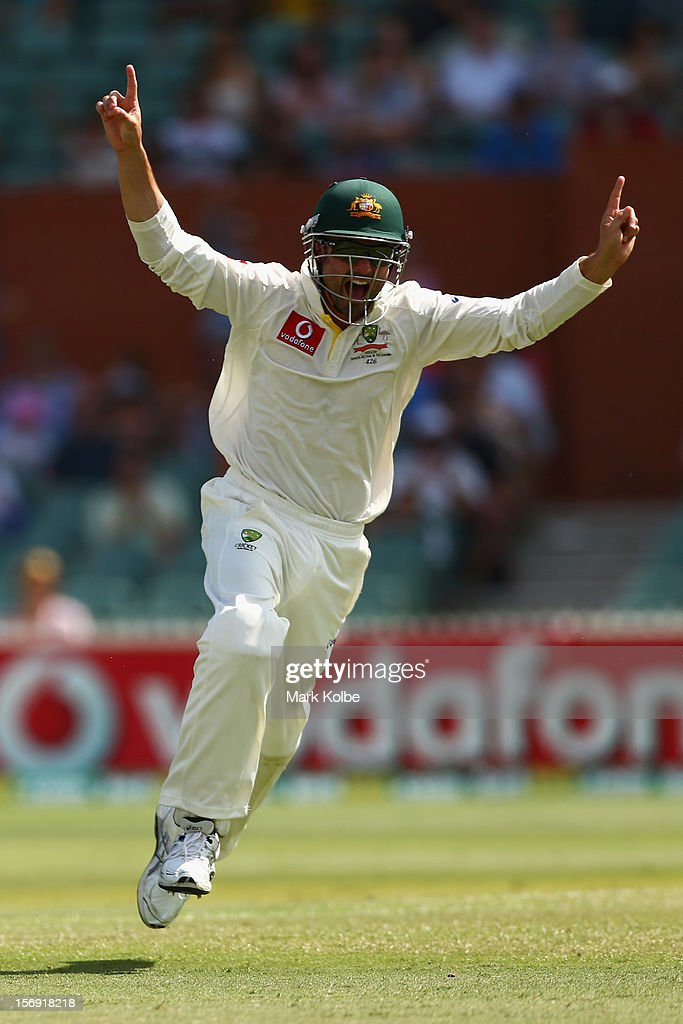 <a gi-track='captionPersonalityLinkClicked' href=/galleries/search?phrase=Ed+Cowan&family=editorial&specificpeople=2207390 ng-click='$event.stopPropagation()'>Ed Cowan</a> of Australia celebrates catching Jacques Rudolph of South Africa during day four of the Second Test Match between Australia and South Africa at Adelaide Oval on November 25, 2012 in Adelaide, Australia.