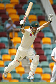 Ed Cowan of Australia celebrates scoring his century during day four of the First Test match between Australia and South Africa at The Gabba on...