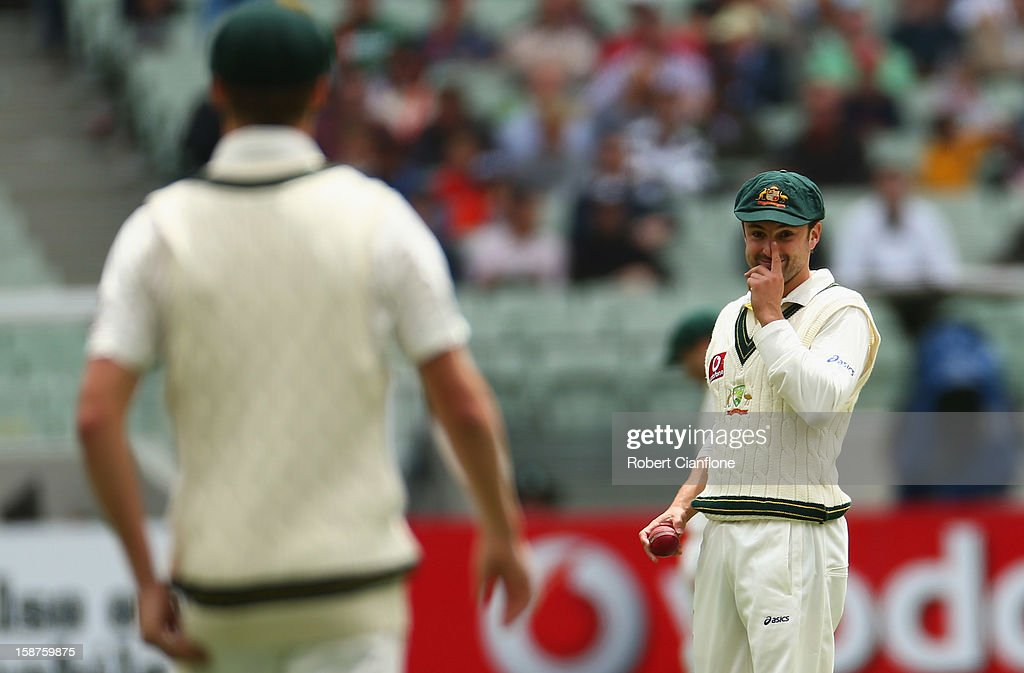Ed Cowan of Australia gestures to Jackson Bird during day three of the Second Test match between Australia and Sri Lanka at Melbourne Cricket Ground on December 28, 2012 in Melbourne, Australia.