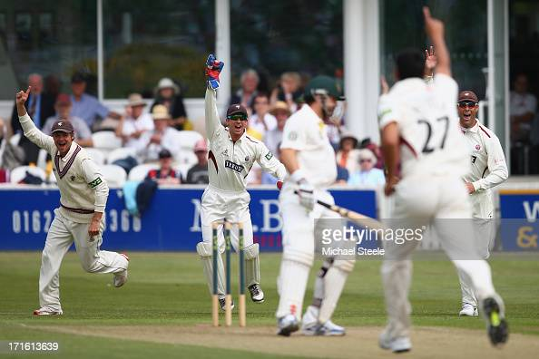 Ed Cowan of Australia is caught behind by wicketkeeper Alex Barrow off the bowling of Gemaal Hussain during day two of the Somerset versus Australia...