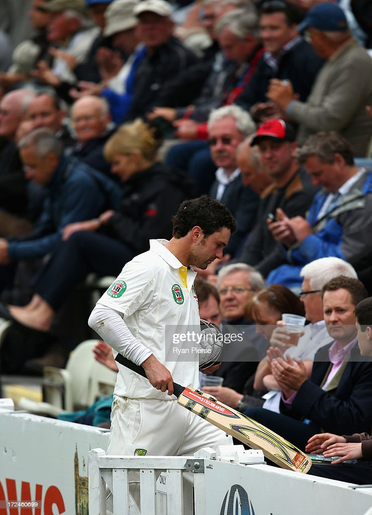 <a gi-track='captionPersonalityLinkClicked' href=/galleries/search?phrase=Ed+Cowan&family=editorial&specificpeople=2207390 ng-click='$event.stopPropagation()'>Ed Cowan</a> of Australia leaves the ground after being run out during day one of the Tour Match between Worcestershire and Australia at New Road on July 2, 2013 in Worcester, England.