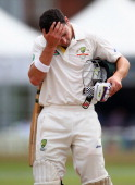 Ed Cowan of Australia looks dejected after being dismissed by Lewis Hatchett of Sussex during Day One of the Tour Match between Sussex and Australia...