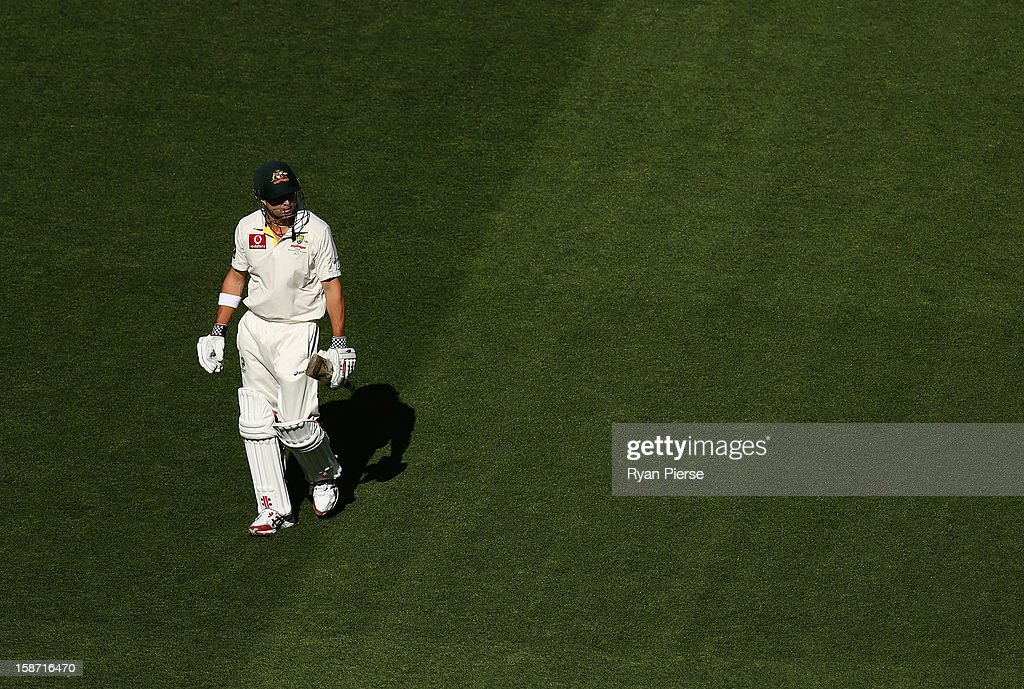 Ed Cowan of Australia looks dejected after being dismissed by Dhammika Prasad of Sri Lanka during day one of the Second Test match between Australia and Sri Lanka at the Melbourne Cricket Ground on December 26, 2012 in Melbourne, Australia.