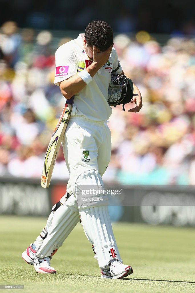 Ed Cowan of Australia looks dejected as he leaves the field after being run out during day two of the Third Test match between Australia and Sri Lanka at Sydney Cricket Ground on January 4, 2013 in Sydney, Australia.