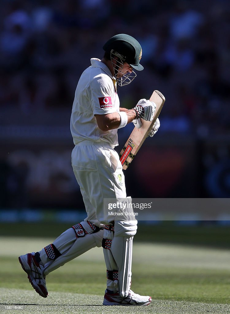 Ed Cowan of Australia punches his bat after being dismissed by Dhammika Prasad of Sri Lanka during day one of the Second Test match between Australia and Sri Lanka at Melbourne Cricket Ground on December 26, 2012 in Melbourne, Australia.