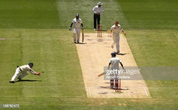 Ed Cowan of Australia takes a catch to dismiss Shaminda Eranga of Sri Lanka to give Australia victory during day three of the Second Test match...