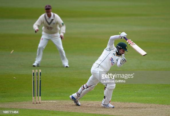 Ed Cowan of Nottinghamshire is bowled by Stuart Meaker of Surry during day one of the LV County Championship division one match between...