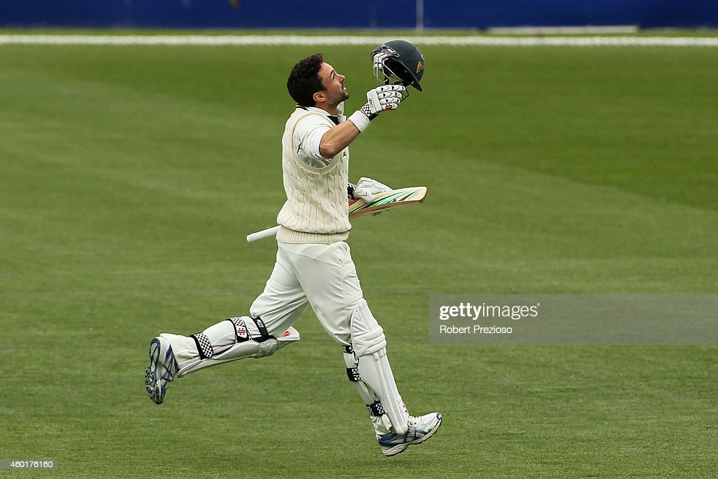 <a gi-track='captionPersonalityLinkClicked' href=/galleries/search?phrase=Ed+Cowan&family=editorial&specificpeople=2207390 ng-click='$event.stopPropagation()'>Ed Cowan</a> of Tasmania celebrates after scoring a century during day one of the Sheffield Shield match between Tasmania and South Australia at Blundstone Arena on December 9, 2014 in Hobart, Australia.