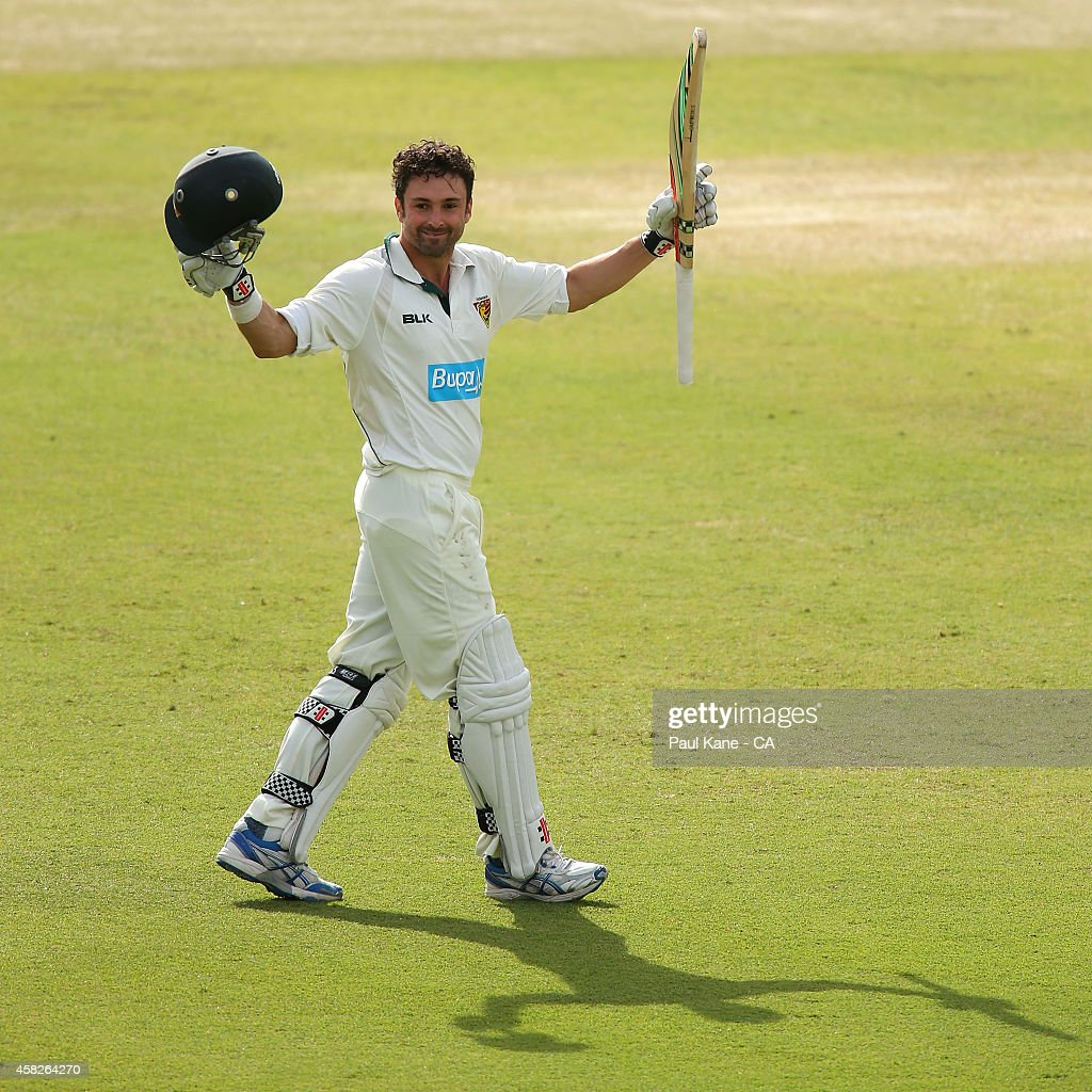 <a gi-track='captionPersonalityLinkClicked' href=/galleries/search?phrase=Ed+Cowan&family=editorial&specificpeople=2207390 ng-click='$event.stopPropagation()'>Ed Cowan</a> of Tasmania celebrates his century during day three of the Sheffield Shield match between Western Australia and Tasmania at WACA on November 2, 2014 in Perth, Australia.